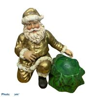Dept 56 Santa in Gold Glitter with Tree Candy Dish