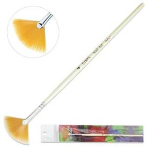 Ginza Professional Orange Nail Art Painting Fan Brush with White Wooden Handle