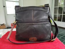 Fossil Maddox Black Leather Crossbody Messager Bag Purse Vintage