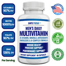 Men's Daily Multi vitamin A B C D E for Energy Focus Metabolism Immune Prostate