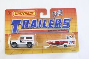 Matchbox Trailers White Land Rover Ninety and Seafire Boat on Trailer on Card