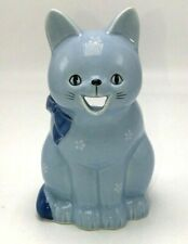 Vintage OtagiriJapan Cat Planter Blue/White Floral Hand Crafted