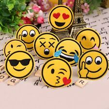 7pcs/ Set Cute Emoji Expression Iron on Patches Embroidered Badge Applique Patch