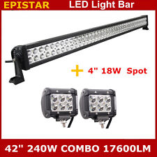"42""inch 240W LED Light Bar Off-road Driving Combo Lamp + 2X 18W Cree Spot Lights"
