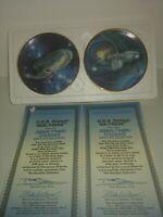 Lot Of 2 1997 Hamilton Star Trek Starships Porcelain Mini Plate Easel Set