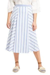 MARINA RINALDI Women's Blue/White Cardiff Striped Skirt $255 NWT