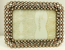 """NEW pink mauve crystal  Jewels  5"""" x 7""""  Wedding Picture Frame solid brass NIB"""