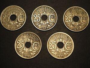 France Numismatique 380 : Lot de 5 Pièces de 25 c. Lindauer 1921, 22, 23, 24, 25