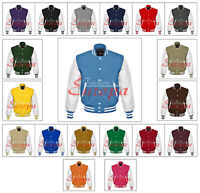 Real Leather Sleeves Letterman College Varsity Baseball Men Wool Jacket XS-7XL