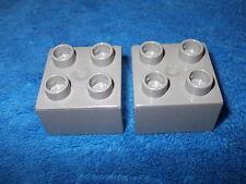 LEGO DUPLO RITTERBURG 2 X 4er NOPPEN STEIN 4777 + 4988 + 4785 ERSATZTEIL GRAU