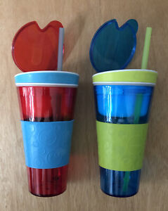 Lot Of 2 SNACKEEZ 2-in-1 Snack & Drink Combo Cups 16 OZ