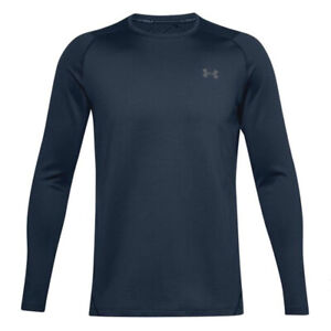 Under Armour UA ColdGear Infared Navy Blue Golf Crew Long Sleeved Fitted Top L