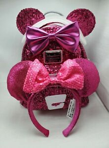 SET/LOT 2pc Loungefly Imagination Pink Mini Backpack Sequins Minnie Mouse w/Ears