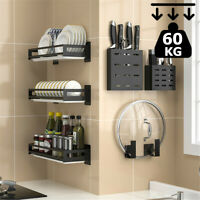 Wall-mounted 3-Tier Plate Shelf Stand Rack Kitchen Cupboard Spice Rack Holder