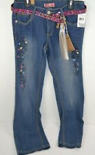 Star Ride Girls Blue Jeans w/ Belt & Washable Glitter Markers to Decorate 16 New