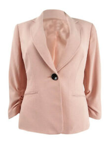 Kasper Women's Petite Textured Single-Button Jacket 6P, Rosebud