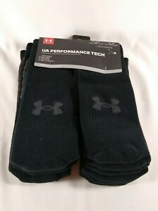 Under Armour Adult Performance Tech Crew Socks (6 Pairs) Black