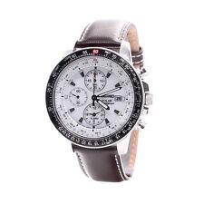 Seiko Solar SSC013P1 Chronograph White Dial Leather Analog Men's Casual Watch