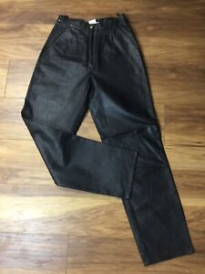 Vintage Black Rel Leather High Waist Pleated Tapered Leg Trousers UK 8 10 Pocket