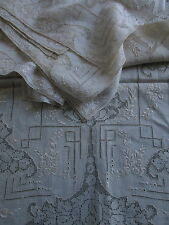 8 Placemats + Runner Antique Italian Drawn Thread Punchwork Embroidered Set Vtg