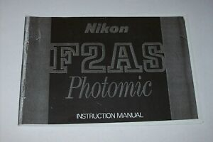 VINTAGE INSTRUCTIONS MANUAL-COPY- FOR THE NIKON F2AS PHOTOMIC -FREE SHIPPING