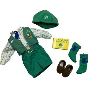 """Girl Scout Doll Dress Vintage Clothes Shoes Socks Hat Cookie Box For 14"""" Dolls"""