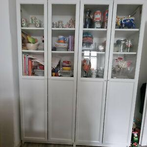2 IKEA BILLY Vitrinenschränke weiß mit Glas-/Paneeltüren TOP SCHNÄPPCHEN