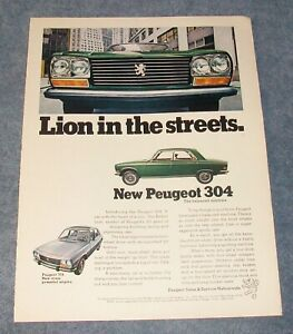 """1971 Peugeot 304 504 Vintage Color Ad """"Lion in the Streets."""""""
