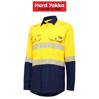 Mens Hard Yakka Fire Resistant ShieldTec Lenzing Hi-Vis Safety Work Shirt Y04370