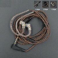 Earphone Cable Gold Plated Standard Pin Connector Oxygen Copper Replaceable Wire