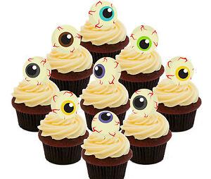 Halloween Eyeballs - 24 Edible Cup Cake Toppers, Standup Fairy Bun Decorations