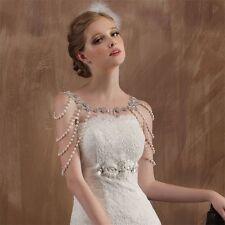Wedding Bridal Fashion Crystal Pearl Shoulder Body Chain Tassel Necklace Jewelry
