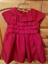 Baby Gap Toddler Girl Deep Red Polyester Party Dress & Bloomers 6-12 Months