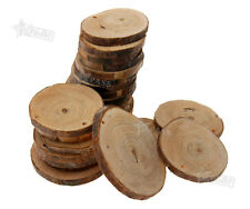 24PCS NATURAL WOOD ROUND DISCS SLICES WITH HOLE FOR DIY CRAFT HOBBIES PYROGRAPHY
