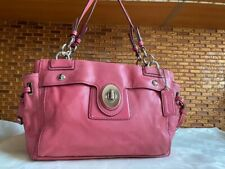 Coach Peyton Carryall Turnlock Pink Leather Purse Silver Hardware Satchel 14522
