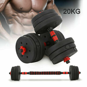 20KG Adjustable Dumbbell Set Barbell Home Gym Fitness Workout Weights Exercise