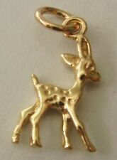 SOLID 9ct YELLOW GOLD 3D DEER BAMBI ANIMAL Charm/Pendant