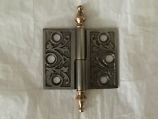 Antique Cast Iron East Lake Style Cabinet Door Hinge With Brass Steeple Tips