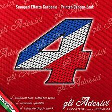 Adesivo Stickers NUMERO 4 moto auto cross gara Carbon Effect Blu White Red 15 cm