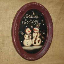 Seasons Greetings Snowman Oval Burgundy Wall Picture