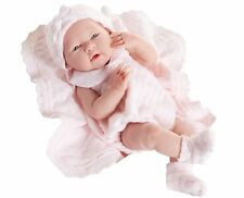 "Jc Toys 15"" Anatomically Correct Newborn Girl - Pink Knit Blanket Gift Set -New"