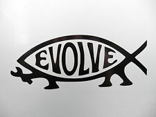 Darwin Evolve fish Religion car/van/bumber/window/decal/sticker  Black 5216