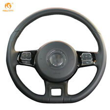Black Leather Steering Wheel Cover for Volkswagen Beetle 2012-2016 Up 2013-2016
