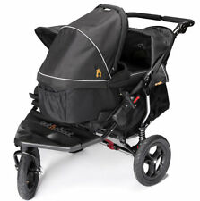 New Out n About nipper 360 double pushchair v4 Raven black with 1 carrycot & pvc
