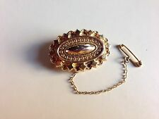 Vintage 9kt 9ct Gold Mourning Brooch Excellent Original Condition 35 x 23mm