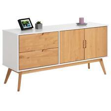 Buffet commode style scandinave 2 tiroirs 2 portes pin massif blanc/bois teinté