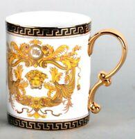 Euro Porcelain Medusa Fine Bone China Coffee Tea Mug / Cup - 24K Gold White