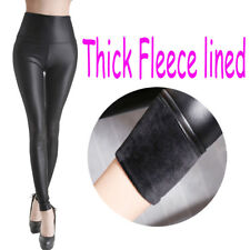 Women Faux PU Leather Leggings Fleece Pencil Pants Winter Warm Stretchy Trousers