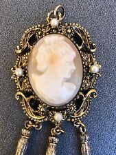 Antique/Vintage Gold-Tone Victorian Style Cameo Pendant With Pearls Jewelry