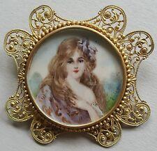 Jugendstil Miniatur Portrait einer jungen Dame als Brosche Gouachemalerei um1900